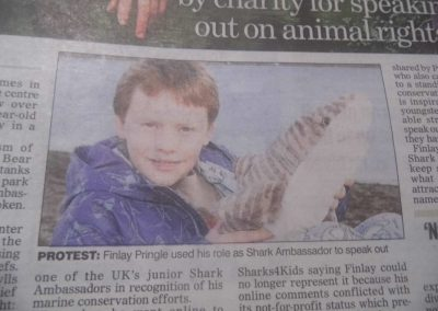 Finlay Pringle Ullapool Shark Ambassador Bear Grylls Campaign - media coverage
