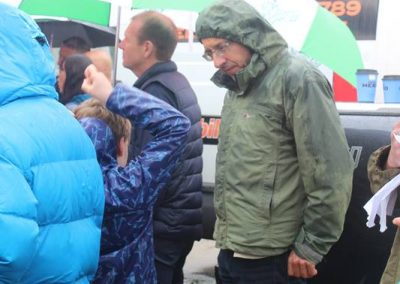 Finlay Pringle Ullapool Shark Ambassador with George Monbiot at #PeoplesWalkForWildlife