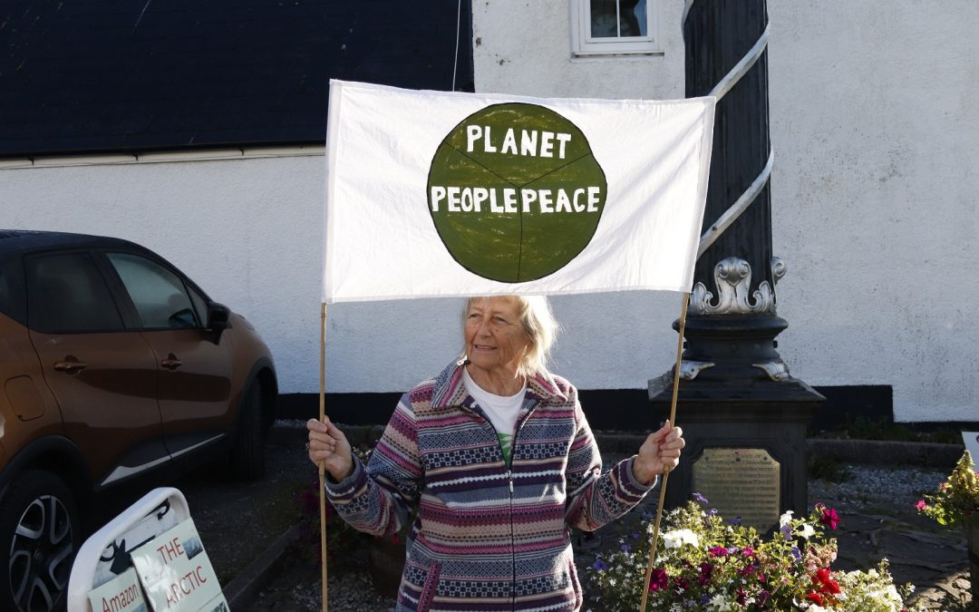 Lady with banner